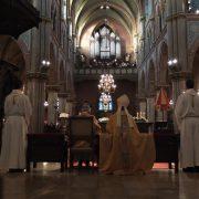 Gregorian mens choir sings in the church of Schiedam- vocal choir